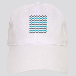 e30fae1fa11 Teal and Gray Chevron Pattern Baseball Cap