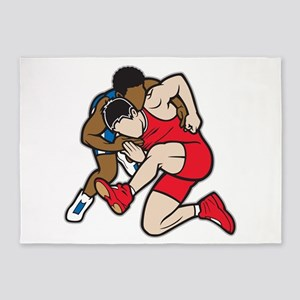 Two Wrestlers 5'x7'Area Rug