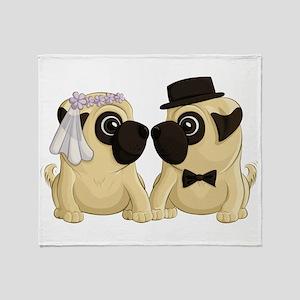 Wedding Pugs Throw Blanket