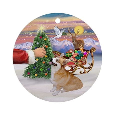 Santa's Treat - Corgi (P7B) Ornament (Round)