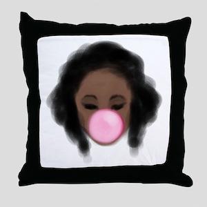 Bubble Gum Girl Throw Pillow