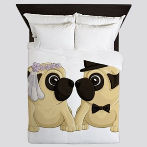 Wedding Pugs Queen Duvet