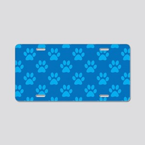 Blue paw prints pattern Aluminum License Plate