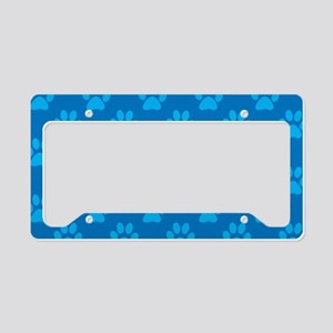 Blue paw prints pattern License Plate Holder