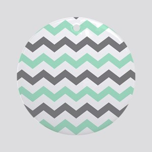 Mint and Gray Chevron Pattern Ornament (Round)