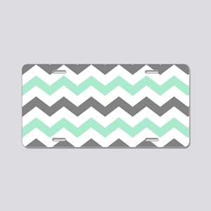 Mint and Gray Chevron Pattern Aluminum License Pla