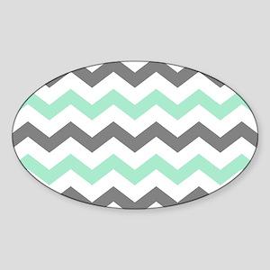 Mint and Gray Chevron Pattern Sticker