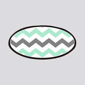 Mint and Gray Chevron Pattern Patch