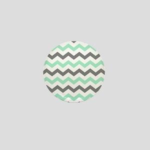 Mint and Gray Chevron Pattern Mini Button