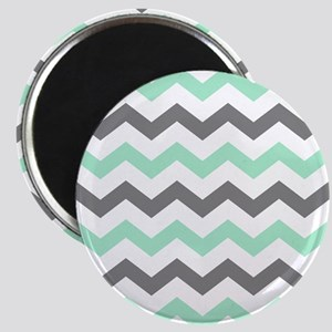 Mint and Gray Chevron Pattern Magnets