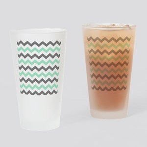 Mint and Gray Chevron Pattern Drinking Glass