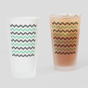 Mint and Gray Chevron Pattern Drinking Glass