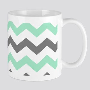 Mint and Gray Chevron Pattern Mugs