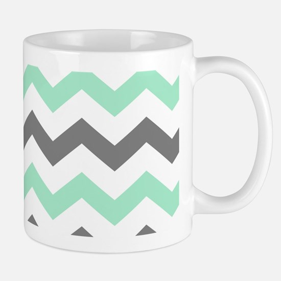 Mint and Gray Chevron Pattern Mugs