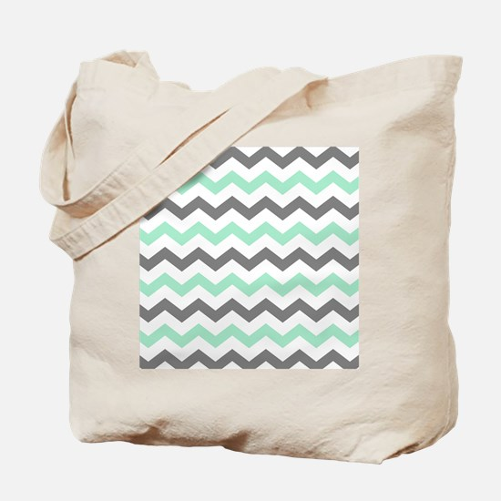 Mint and Gray Chevron Pattern Tote Bag