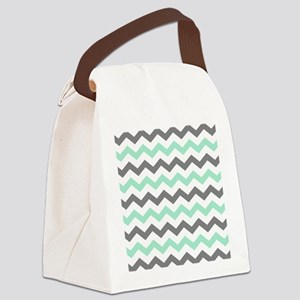 Mint and Gray Chevron Pattern Canvas Lunch Bag