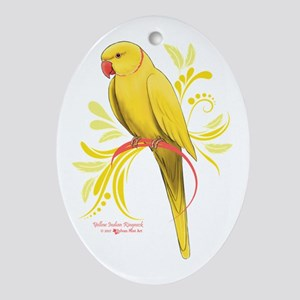 Yellow Indian Ringneck Parrot Oval Ornament