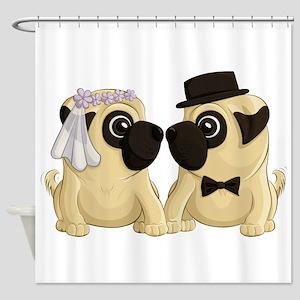 Wedding Pugs Shower Curtain