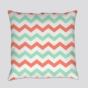 Mint and Coral Chevron Pattern Everyday Pillow