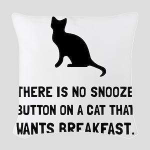 Snooze Button Cat Woven Throw Pillow