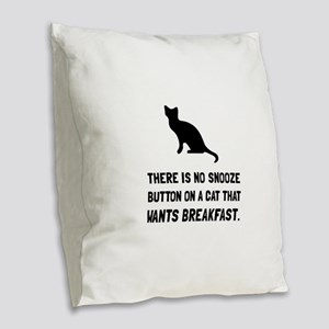 Snooze Button Cat Burlap Throw Pillow