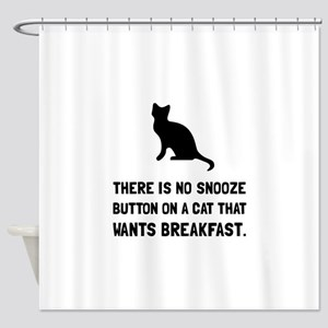 Snooze Button Cat Shower Curtain