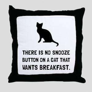 Snooze Button Cat Throw Pillow