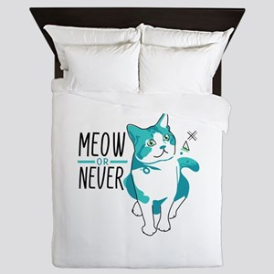 American shorthair cat meow or never Queen Duvet