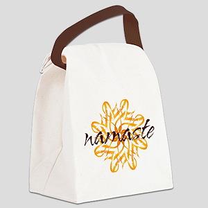 namaste_warm_white Canvas Lunch Bag