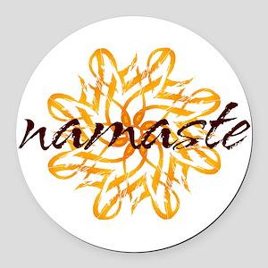 namaste_warm_white Round Car Magnet