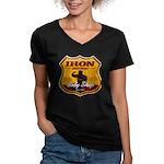 BODY SHOP SIGN Women's V-Neck Dark T-Shirt