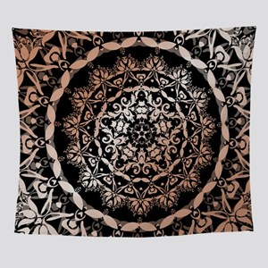 Rose Gold Black Floral Mandala Wall Tapestry