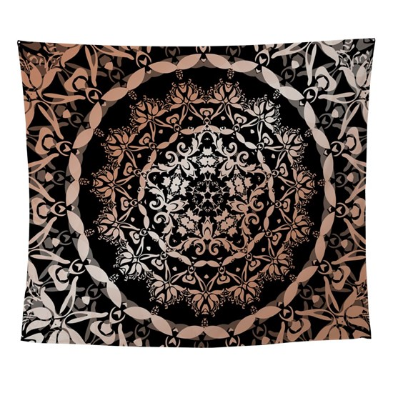 Rose Gold Black Floral Mandala