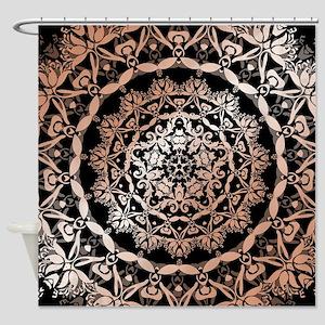 Rose Gold Black Floral Mandala Shower Curtain
