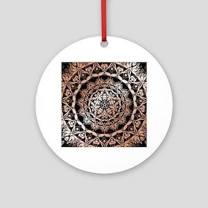 Rose Gold Black Floral Mandala Round Ornament