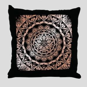 Rose Gold Black Floral Mandala Throw Pillow