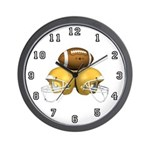 Football and 3 Helmets Wall Clock