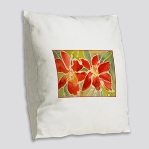 Red orchids! Beautiful art! Burlap Throw Pillow