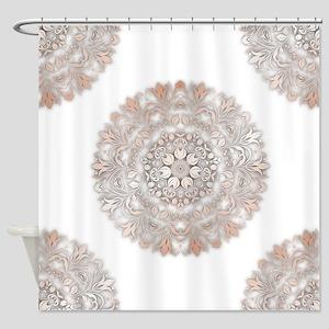 Rose Gold White Floral Mandala Shower Curtain
