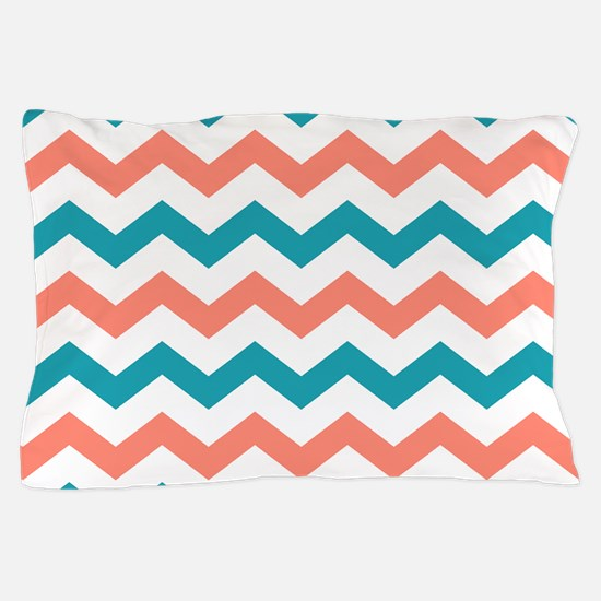Teal and Coral Chevron Pattern Pillow Case