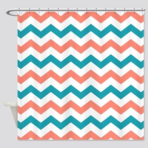 Teal And Coral Chevron Pattern Shower Curtain