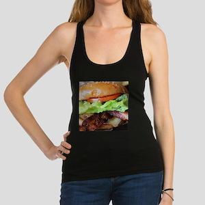 novelty bacon hamburger Racerback Tank Top