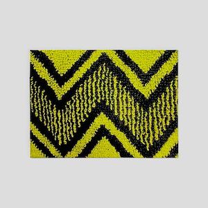 Black And Yellow Zig Zags 5'x7'Area Rug