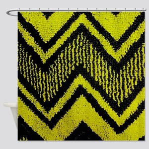 Black And Yellow Zig Zags Shower Curtain