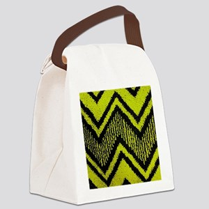 Black And Yellow Zig Zags Canvas Lunch Bag