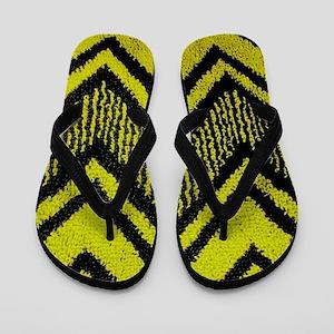 Black And Yellow Zig Zags Flip Flops