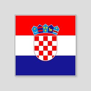 "Croatia Flag Square Sticker 3"" x 3"""