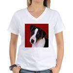 JRT Puppy Ink Sketch Women's V-Neck T-Shirt