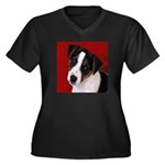 JRT Puppy Ink Sketch Women's Plus Size V-Neck Dark