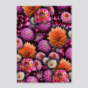 Bright Pink Dahlias Collage 5'x7'Area Rug